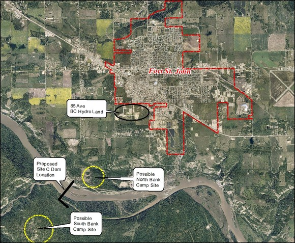 Map of Fort St. John and area including municipal boundaries, 85th Avenue lands, possible camp locations and proposed Site C dam location